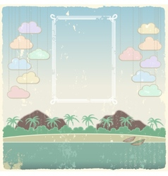 Vintage seaside view poster template vector