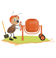 Working ant and concrete mixer vector
