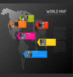 world map template with photo pins vector image