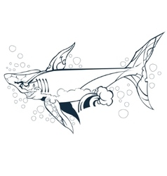 wounded shark marine mammal vector image