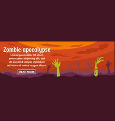 zombie apocalypse banner horizontal concept vector image vector image