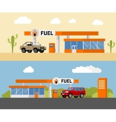 Concept fuel petrol station with a suv car vector