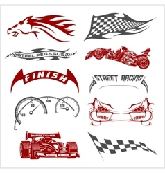 Racing design - elements for emblem vector