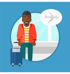 Man suffering from fear of flying vector image