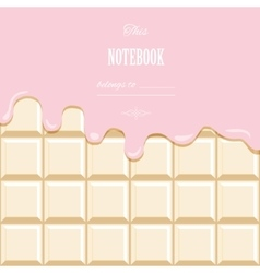 Pink cream melted on white chocolate bar vector