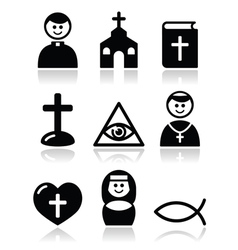Religion catholic church icons set vector image