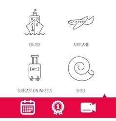 Cruise airplane and suitcase icons vector