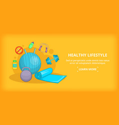 Fitness banner horizontal lifestyle cartoon style vector