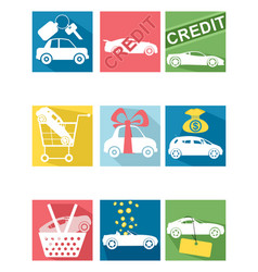 Car selling icons vector
