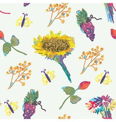 Fall seamless pattern with flower and fruits vector image