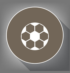 Soccer ball sign  white icon on brown vector