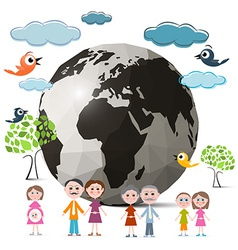 Family members with globe - earth and trees clouds vector