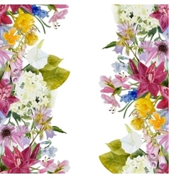 Watercolor floral seamless border vector