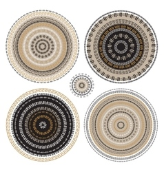 Hand drawn circular pattern mandala set vector