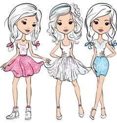 set fashion cute happy girls vector image