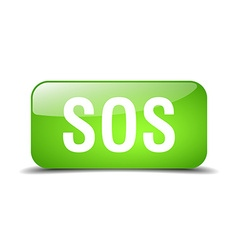 Sos green square 3d realistic isolated web button vector