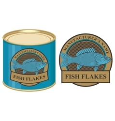 tin of fish with label vector image