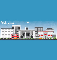 belmopan skyline with gray buildings and blue sky vector image vector image