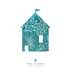 Blue and gray plants house silhouette pattern vector
