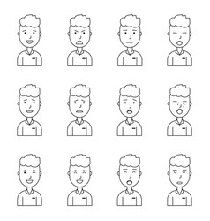 Boy face expressions set collection vector