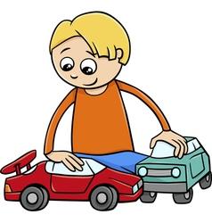 Boy with toy cars cartoon vector