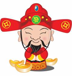 Choy san god of wealth vector image vector image