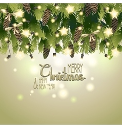 Christmas card with fir branches and garland vector image vector image