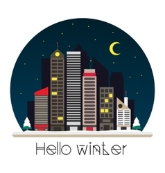 City at night in flat style vector image vector image