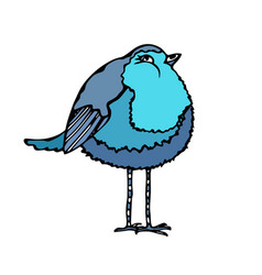 Cute adorable blue bird isolated on a white vector