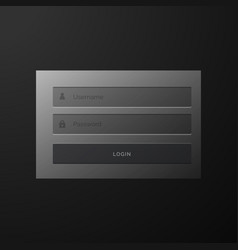 Dark black login form user interface template vector
