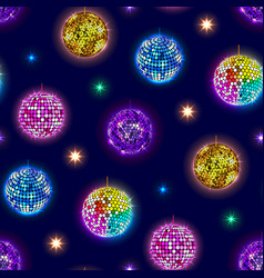disco mirror balls party seamless pattern vector image