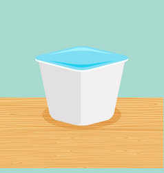 Farm yoghurt on the table vector