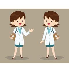 Female doctor on presentation vector