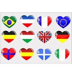 Flags glass heart vector