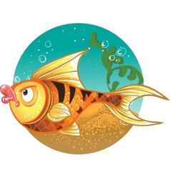 Gold Fish with striped tiger vector image vector image