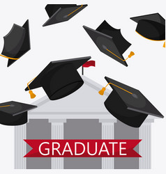 Graduation cap building university icon vector