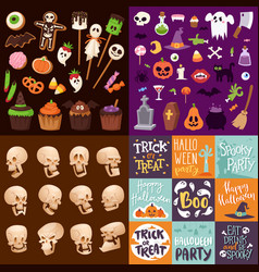 Halloween night creepy symbols icons vector