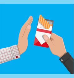 Hand gives cigarette to other hand vector