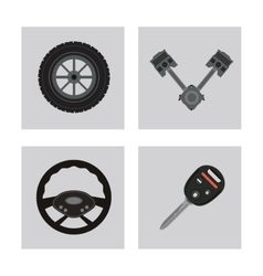 icon set over frames Auto part design vector image