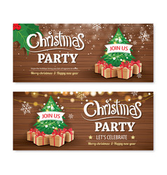 invitation merry christmas party poster banner vector image
