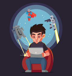 man play the game with tablet and his imagine vector image vector image