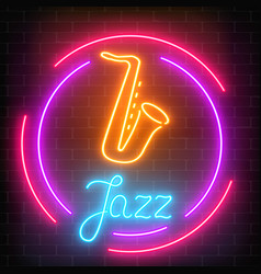 Neon jazz cafe with saxophone glowing sign with vector