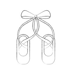 Pair pointe ballet shoes slippers icon vector
