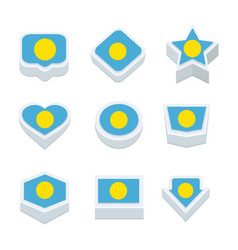 Palau flags icons and button set nine styles vector
