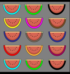 pattern of ripe watermelons on a gray background vector image