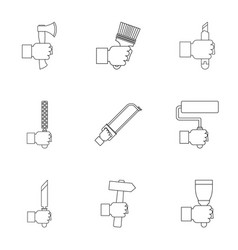 repair hand instrument icon set outline style vector image vector image