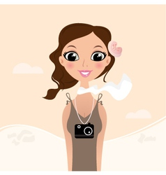 Vacation tourist girl with flower in hair vector