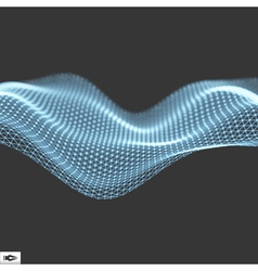 Wave with Connected Lines and Dots Glowing Grid vector image