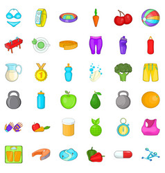 Wellness fit icons set cartoon style vector