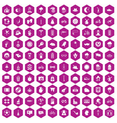 100 bicycle icons hexagon violet vector